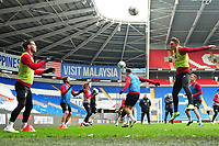 Gareth Bale (left) and Connor Roberts (right) of Wales in action during the Wales Training Session at the Cardiff City Stadium in Cardiff, Wales, UK. Thursday 15 November 2018