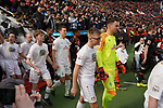 17.03.2019, BayArena, Leverkusen, GER, 1. FBL, Bayer 04 Leverkusen vs. SV Werder Bremen,<br />  <br /> DFL regulations prohibit any use of photographs as image sequences and/or quasi-video<br /> <br /> im Bild / picture shows: <br /> Einlauf Bremer mit Einlaufkindern  Jiri Pavlenka Torwart (Werder Bremen #1), Niklas Moisander (Werder Bremen #18), <br /> <br /> Foto © nordphoto / Meuter