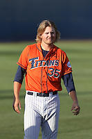 Tanner Pinkston (35) of the Cal State Fullerton Titans before a game against the Cal Poly Mustangs at Goodwin Field on April 2, 2015 in Fullerton, California. Cal Poly defeated Cal State Fullerton, 5-0. (Larry Goren/Four Seam Images)