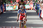 Polka Dot Jersey Luis Angel Mate Mardones (ESP) Cofidis crosses the finish line in 4th place at the end of Stage 4 of the La Vuelta 2018, running 162km from Velez-Malaga to Alfacar, Sierra de la Alfaguara, Andalucia, Spain. 28th August 2018.<br /> Picture: Colin Flockton   Cyclefile<br /> <br /> <br /> All photos usage must carry mandatory copyright credit (&copy; Cyclefile   Colin Flockton)