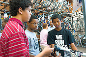 The Spoke 'n Revolutions cycling team visits Performance Bikes in Chapel Hill, N.C., Thursday, May 26, 2011. Spoke 'n Revolutions is a group of youth cyclists that will be biking 1800 miles along the Underground Railroad in 32 days. Performance Bikes is donating equipment to the group for the trip.