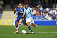 Nikita Parris of Manchester City Women and Maren Mjelde of Chelsea Ladies during Chelsea Women vs Manchester City Women, FA Women's Super League FA WSL1 Football at Kingsmeadow on 9th September 2018
