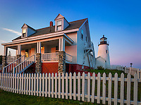 Lincoln County, ME: Pemaquid Point Lighthouse and Keepers House(1835) at  sunset