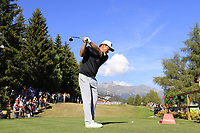 Hideto Tanihara (JPN) tees off the 18th tee during Saturday's Round 3 of the 2018 Omega European Masters, held at the Golf Club Crans-Sur-Sierre, Crans Montana, Switzerland. 8th September 2018.<br /> Picture: Eoin Clarke | Golffile<br /> <br /> <br /> All photos usage must carry mandatory copyright credit (&copy; Golffile | Eoin Clarke)