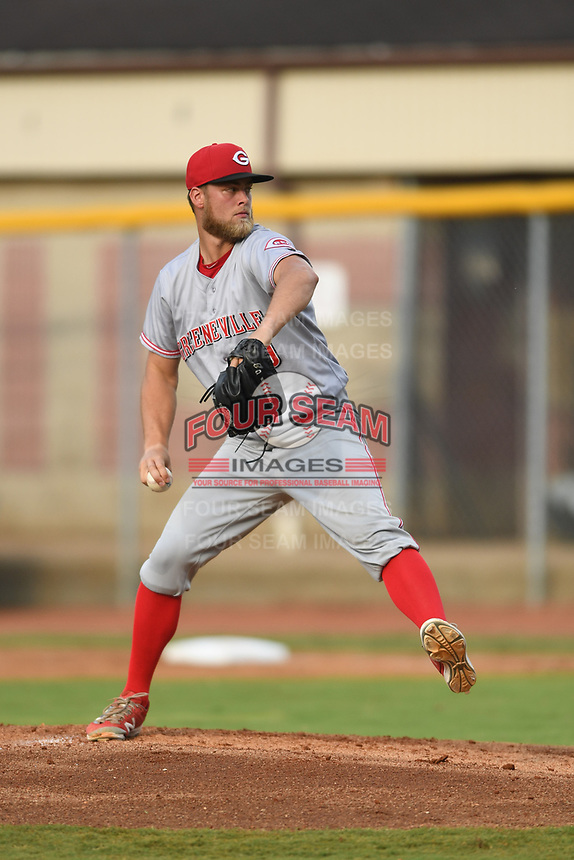 Greeneville Reds starting pitcher Tyler Garbee (29) delivers a pitch against the Bristol Pirates at Boyce Cox Field on July 31, 2019 in Bristol, Virginia. The Pirates defeated the Reds 13-3. (Tracy Proffitt/Four Seam Images)