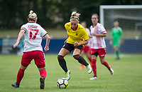 Charlotte Kerr of Watford Ladies takes on Cara Breckenridge of Stevenage Ladies during the pre season friendly match between Stevenage Ladies FC and Watford Ladies at The County Ground, Letchworth Garden City, England on 16 July 2017. Photo by Andy Rowland / PRiME Media Images.