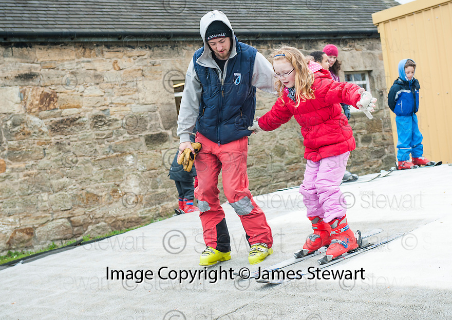 Skiing at the Open Day at Polmonthill Ski Centre..