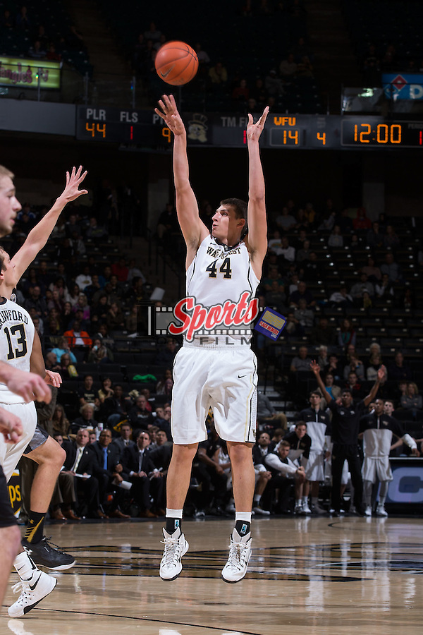 Dinos Mitoglou (44) of the Wake Forest Demon Deacons attempts a jump shot during first half action against the UMBC Retrievers at the LJVM Coliseum on November 13, 2015 in Winston-Salem, North Carolina.  (Brian Westerholt/Sports On Film)