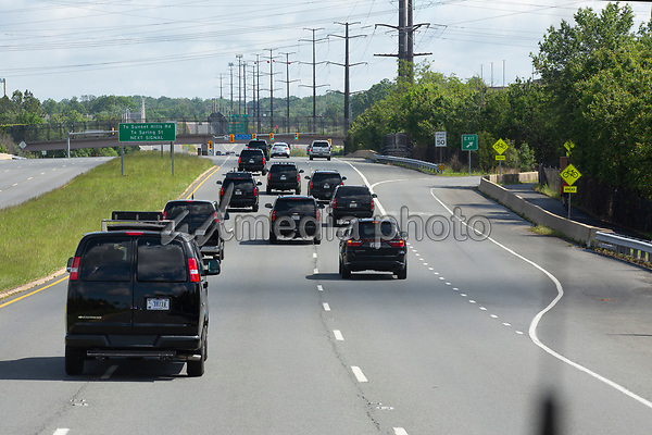 The presidential motorcade, carrying United States President Donald J. Trump, drives to Trump National Golf Club in Sterling, Virginia on Saturday, May 23, 2020.  Credit: Stefani Reynolds / CNP/AdMedia