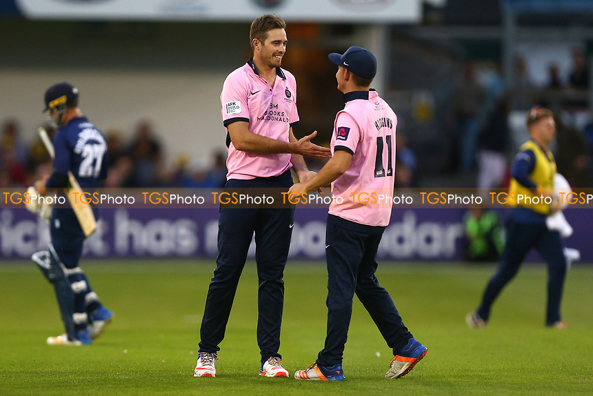 Tim Southee of Middlesex celebrates taking the wicket of Ryan ten Doeschate during Essex Eagles vs Middlesex, NatWest T20 Blast Cricket at The Cloudfm County Ground on 11th August 2017