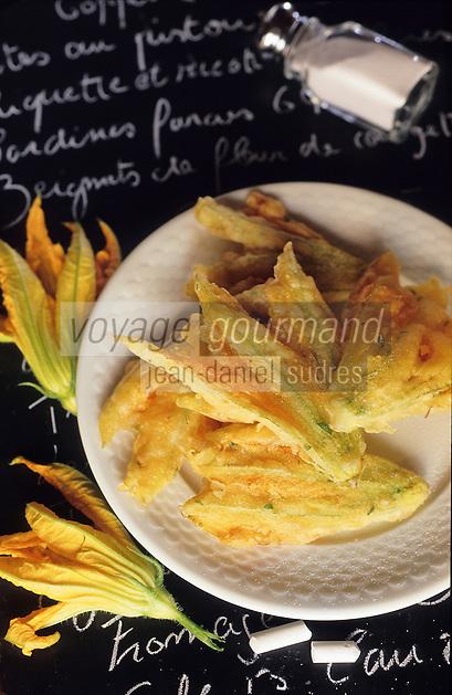 """Europe/France/Provence-Alpes-Côte d'Azur/06/Alpes-Maritimes/Nice: Beignets de courgettes fleurs - Recette de Dominique Le Stanc du restaurant """"La Merenda"""""""