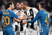 Juanfran of Atletico Madrid argues with Leonardo Bonucci of Juventus during the Uefa Champions League 2018/2019 round of 16 second leg football match between Juventus and Atletico Madrid at Juventus stadium, Turin, March, 12, 2019 <br />  Foto Andrea Staccioli / Insidefoto