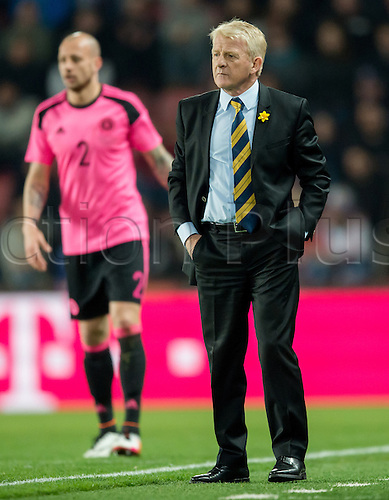 24.03.2016. Prague, Czech Republic.  Scotland's coach Gordon Strachan in front of Alan Hutton during the international friendly match between the Czech Republic and Scotland at Letna Stadium in Prague, Czech Republic, 24 March 2016.