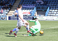 Alan Martin saves the shot of Terry Masson in the SPFL Ladbrokes Championship Play Off semi final match between Queen of the South and Montrose at Palmerston Park, Dumfries on  11.5.19.