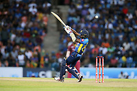 March 1st 2020,Pallekele International Cricket Stadium, Balagolla, Sri Lanka; One Day International cricket, Sri Lanka versus West Indies; Lakshan Sandakan plays a shot with the ball going over his shoulder