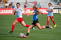 Kansas City, MO - Saturday September 9, 2017: Brittany Ratcliffe, Taylor Comeau during a regular season National Women's Soccer League (NWSL) match between FC Kansas City and the Chicago Red Stars at Children's Mercy Victory Field.