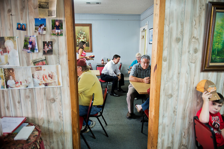 UNITED STATES - MAY 29: Chris McDaniel, Republican candidate for Mississippi Senate, speaks with patrons of Jean's Restaurant in Meridian, Miss., May 29, 2014. (Photo By Tom Williams/CQ Roll Call)
