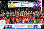 ENG - London, England, August 30: The team of England celebrates on the podium during the prize giving ceremony on August 30, 2015 at Lee Valley Hockey and Tennis Centre, Queen Elizabeth Olympic Park in London, England.  (Photo by Dirk Markgraf / www.265-images.com) *** Local caption ***