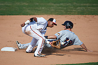 Bowie Baysox second baseman Garabez Rosa (2) catches a throw as Mike Papi (38) slides into second during the second game of a doubleheader against the Akron RubberDucks on June 5, 2016 at Prince George's Stadium in Bowie, Maryland.  Bowie defeated Akron 12-7.  (Mike Janes/Four Seam Images)