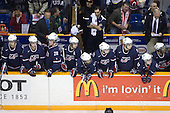 Brian Lashoff (USA - 18), Matt Donovan (USA - 4), Mark Osiecki (USA - Assistant Coach), Jake Gardiner (USA - 28), Dave Warsofsky (USA - 5), Brock Bradley (USA - Manager), Luke Walker (USA - 14), Kyle Palmieri (USA - 23), Philip McRae (USA - 9), Tyler Johnson (USA - 10), Dean Blais (USA - Head Coach), Jerry D'Amigo (USA - 29) - Team Canada defeated Team USA 5-4 (SO) on Thursday, December 31, 2009, at the Credit Union Centre in Saskatoon, Saskatchewan, during the 2010 World Juniors tournament.