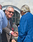 """United States Senate Minority Leader Harry Reid (Democrat of Nevada) shakes hands with US Representative Charles Rangel (Democrat of New York) prior to joining other Democratic members of the US House of Representatives and US Senate assemble on the East Steps of the US Capitol to call on Republican leadership in both legislative bodies to schedule votes on funding to combat the Zika Virus, to prohibit people on the federal """"no fly"""" list from purchasing guns, and to conduct confirmation hearings and schedule a vote on the confirmation of Judge Merrick Garland as Associate Justice of the US Supreme Court in Washington, DC on Thursday, September 8, 2016.<br /> Credit: Ron Sachs / CNP"""