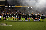 The All Blacks line up for the national anthems before the first international rugby test at Eden Park, Auckland, New Zealand, Saturday, June 02, 2007. The All Blacks beat France 42-11.