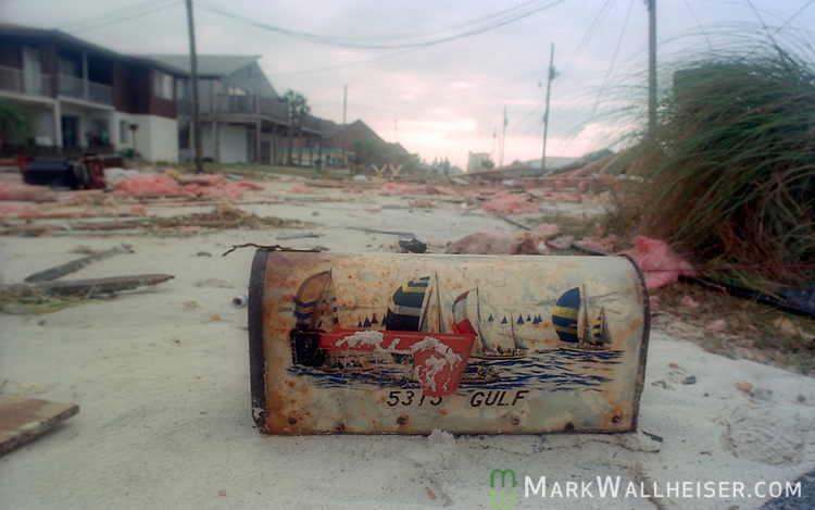 A heavily damaged Gulf Dr in Panama City Beach, Florida after Hurricane Opal impacted the Florida panhandle as a category three storm when it came ashore near Pensacola, Florida October 5, 1995.  It was the strongest hurricane of the 1995 season and killed 63 people, 13 in the United States.  Hurricane Opal's name was retired the following year.