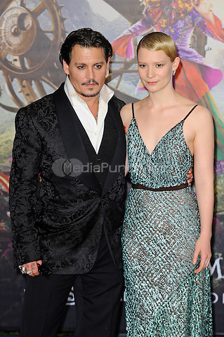 LONDON, ENGLAND - MAY 10: Johnny Depp and Mia Wasikowska attending the 'Alice Through The Looking Glass' European Premiere at Odeon Cinema, Leicester Square in London. on May 10, 2016 in London, England.<br /> CAP/MAR<br /> &copy; Martin Harris/Capital Pictures /MediaPunch ***NORTH AND SOUTH AMERICA ONLY***