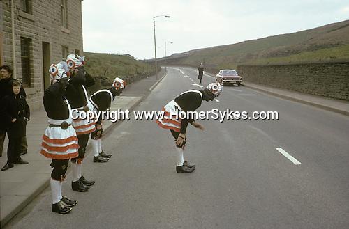 Britannia, Bacup Coconut Dancers, Bacup Lancashire, Easter.1974