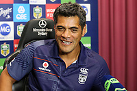 A pleased Stephen Kearney at the post match press conference. Sydney Roosters v Vodafone Warriors, NRL Rugby League. Allianz Stadium, Sydney, Australia. 31st March 2018. Copyright Photo: David Neilson / www.photosport.nz