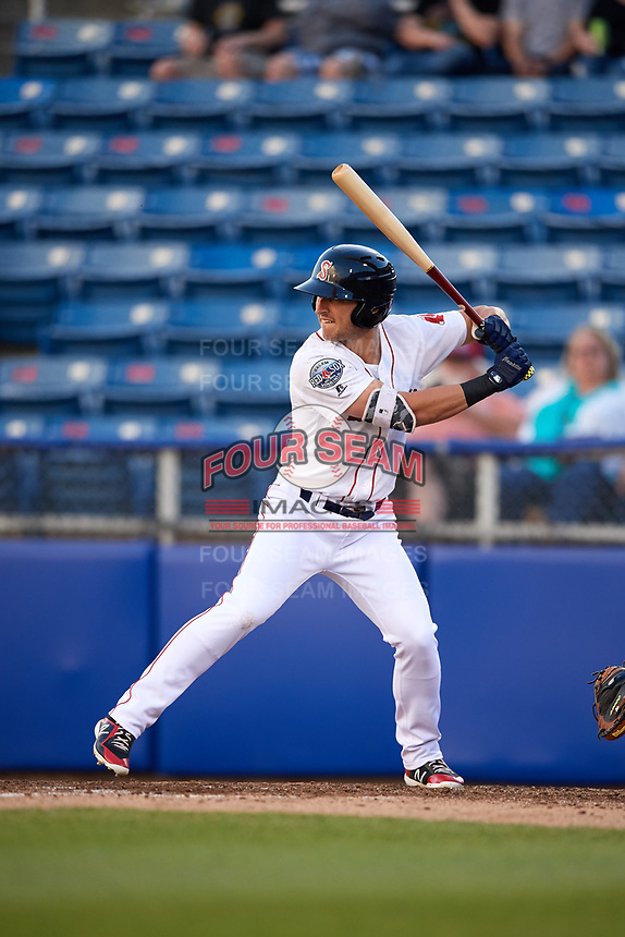Salem Red Sox left fielder Jordan Wren (2) at bat during a game against the Lynchburg Hillcats on May 10, 2018 at Haley Toyota Field in Salem, Virginia.  Lynchburg defeated Salem 11-5.  (Mike Janes/Four Seam Images)