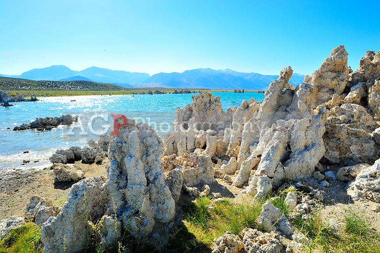 """Sept. 5, 2010 - Mono Lake, California, U.S. - Tufa towers are seen along the shore of Mono Lake near Lee Vining, California.  """"Tufa towers,"""" are calcium-carbonate spires and knobs formed by interaction of freshwater springs and alkaline lake water. Mono Lake is a majestic body of water covering about 70 square miles. It is an ancient lake, over 1 million years old -- one of the oldest lakes in North America. It has no outlet and no fish; instead it is home to trillions of brine shrimp and alkali flies. (Photo by Alan Greth/ZUMA Press)"""