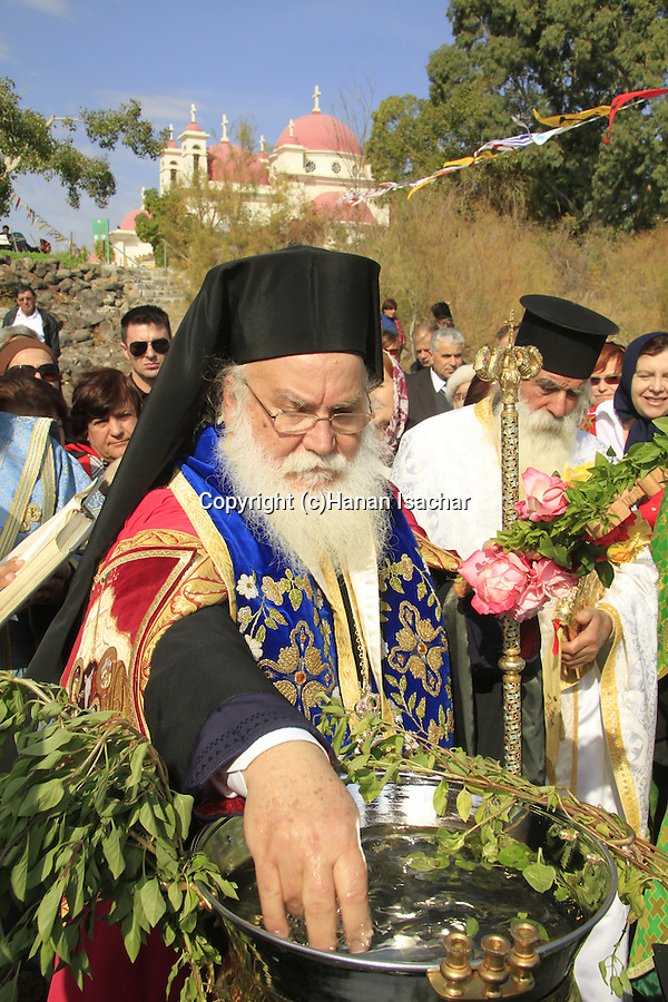 Israel, Capernaum by the Sea of Galilee, Greek Orthodox Blessing the Water Ceremony on Theophany holiday at the Church of the Twelve Apostles