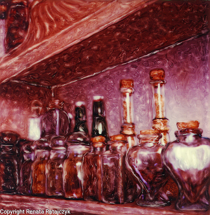 Still Life with Spice Jars - Polaroid SX-70 - paiterly hand-painted photography