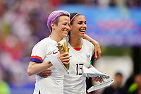 LYON, FRANCE - JULY 07: Megan Rapinoe #15, Alex Morgan #13 after the 2019 FIFA Women's World Cup France final match between the Netherlands and the United States at Stade de Lyon on July 07, 2019 in Lyon, France.