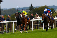 Winner of Sorvio Insurance Maiden Fillies' Stakes,Keepers Choice (yellow) ridden by Oisin Murphy and trained by Denis Coakley   during Afternoon Racing at Salisbury Racecourse on 7th August 2017