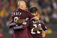 Colorado Rapids forward Conor Casey is congratulated by teammate Jamie Smith after scoring a goal. The Colorado Rapids defeated the LA Galaxy 3-2 at Home Depot Center stadium in Carson, California on Saturday October 16, 2010.