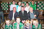 Liam Brady (seated left) presented awards to members of  Listowel Celtic Soccer Club at St. Michael's College on Tuesday night. Front l-r: Waynem McGrath, Killian O'Carroll, Rachel Costello and Benedict Godfrey.  Seated l-r: Former Irish soccer player Liam Brady, Aiden O'Connor (chairman Listowel Celtic) and Martin Hickey (vice president Listowel Celtic).  Back l-r: Eva and Olivia Scanlon, Niamh Stack, Siun Healy and Gerard Mulvihill.   Copyright Kerry's Eye 2008