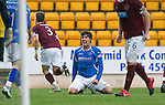 St Johnstone v Hearts....24.03.12   SPL.Fran Sandaza celebrates after being brought down for a penalty.Picture by Graeme Hart..Copyright Perthshire Picture Agency.Tel: 01738 623350  Mobile: 07990 594431
