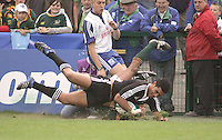 New Zealand centre Robert Fruean scores in the corner against South Africa in the Under 19 Rugby World Championship Final at Ravenhill 2007.