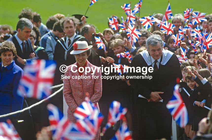 Princess Anne on a May 1985 visit to N Ireland is accompanied by school principal, Bill Sillery, mingles with staff and pupils at the official opening of an extension to Belfast Royal Academy's Preparatory Department at its Ben Madigan campus. 19850501k..Copyright Image from Victor Patterson, 54 Dorchester Park, Belfast, UK, BT9 6RJ..Tel: +44 28 9066 1296.Mob: +44 7802 353836.Voicemail +44 20 8816 7153.Skype: victorpattersonbelfast.Email: victorpatterson@me.com.Email: victorpatterson@ireland.com (back-up)..IMPORTANT: If you wish to use this image or any other of my images please go to www.victorpatterson.com and click on the Terms & Conditions. Then contact me by email or phone with the reference number(s) of the image(s) concerned.
