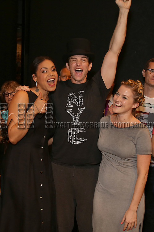 Barrett Doss, Andy Karl and Rebecca Faulkenberry during the Actors' Equity Opening Night Gypsy Robe Ceremony honoring Joseph Medeiros for 'Groundhog Day' at the August Wilson Theatre on April 17, 2017 in New York City