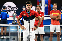 12th January 2020; Sydney Olympic Park Tennis Centre, Sydney, New South Wales, Australia; ATP Cup Australia, Sydney, Day 10; Serbia versus Spain; ATP Cup final ceremony; Novak Djokovic of Serbia makes a speech after Team Serbia win the ATP Cup final - Editorial Use