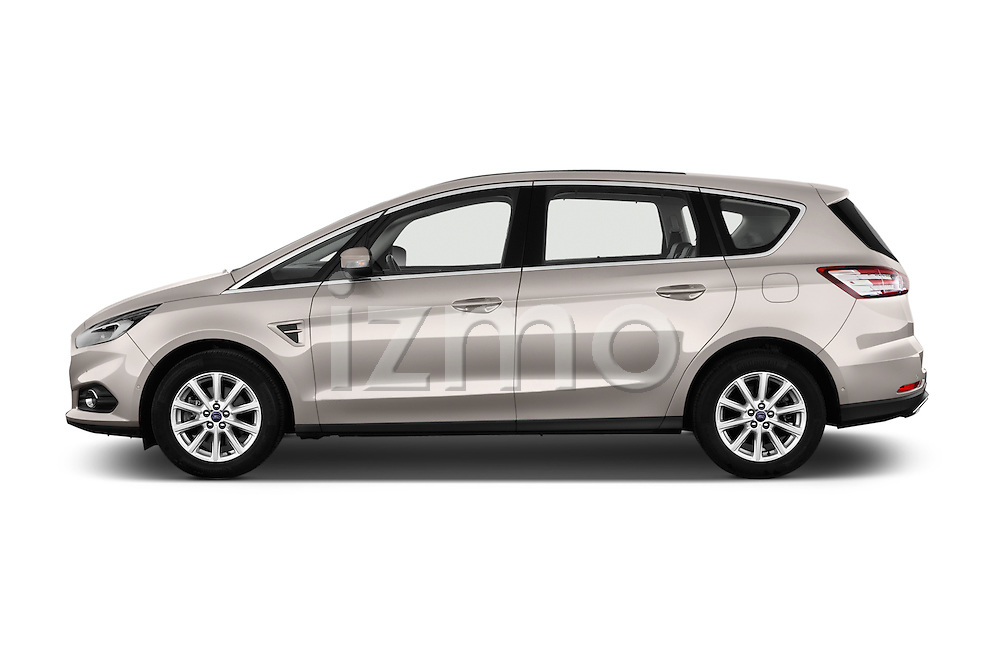 Car Driver side profile view of a 2016 Ford S-Max Titanium 5 Door Minivan Side View