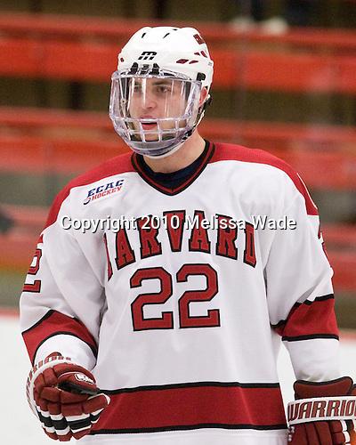 David Valek (Harvard - 22) - The Princeton University Tigers defeated the Harvard University Crimson 2-1 on Friday, January 29, 2010, at Bright Hockey Center in Cambridge, Massachusetts.
