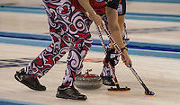 Glasgow. SCOTLAND.  Norway,  &quot;Sweeping&quot;,  &quot;Round Robin&quot; Game. Le Gruy&egrave;re European Curling Championships. 2016 Venue, Braehead  Scotland<br /> Tuesday  22/11/2016<br /> <br /> [Mandatory Credit; Peter Spurrier/Intersport-images]