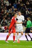 Real Madrid´s -Gareth Bale and Sevilla's Fernando Navarro during 2014-15 La Liga match between Real Madrid and Sevilla at Santiago Bernabeu stadium in Alcorcon, Madrid, Spain. February 04, 2015. (ALTERPHOTOS/Luis Fernandez) /NORTEphoto.com