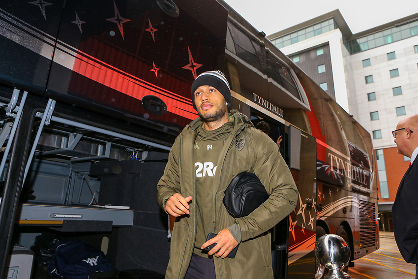Leeds United's Lewis Baker steps off the team coach<br /> <br /> Photographer Alex Dodd/CameraSport<br /> <br /> The EFL Sky Bet Championship - Sheffield United v Leeds United - Saturday 1st December 2018 - Bramall Lane - Sheffield<br /> <br /> World Copyright © 2018 CameraSport. All rights reserved. 43 Linden Ave. Countesthorpe. Leicester. England. LE8 5PG - Tel: +44 (0) 116 277 4147 - admin@camerasport.com - www.camerasport.com