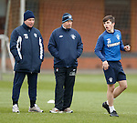 Charlie Telfer now training with the first team today and being watched by Ally McCoist and Kenny McDowall