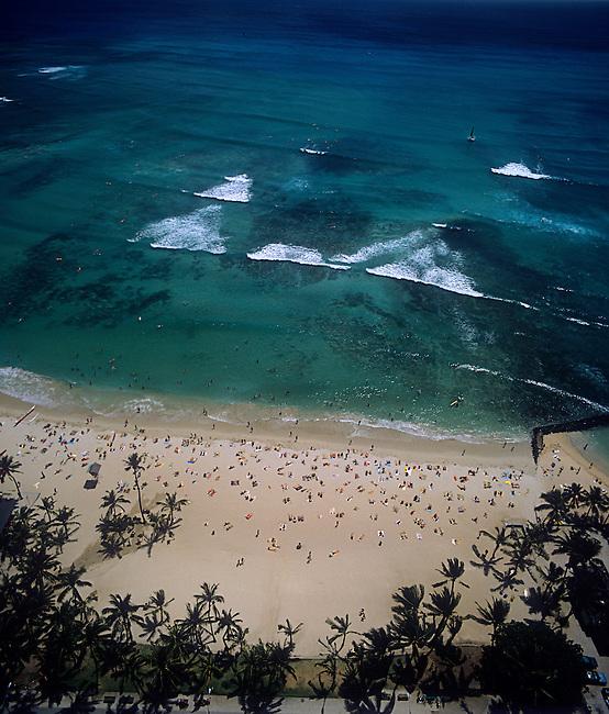 Aerial, Waikiki Beach, Oahu, Hawaii